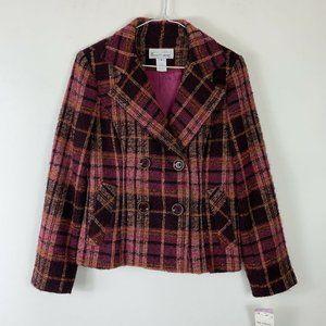 NWT Elliott Lauren Pink Wool Suit Blazer Wm Sz 4